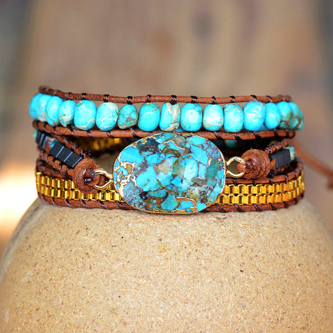 Genuine Turquoise three times Leather Wrap Bracelet HD0269