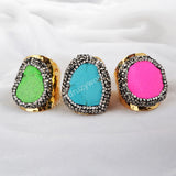 Gold Plated Colorful Howlite Turquoise Ring With Zircon JAB101