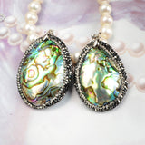 Oval Abalone Shell Pendant Bead With Zircon JAB103