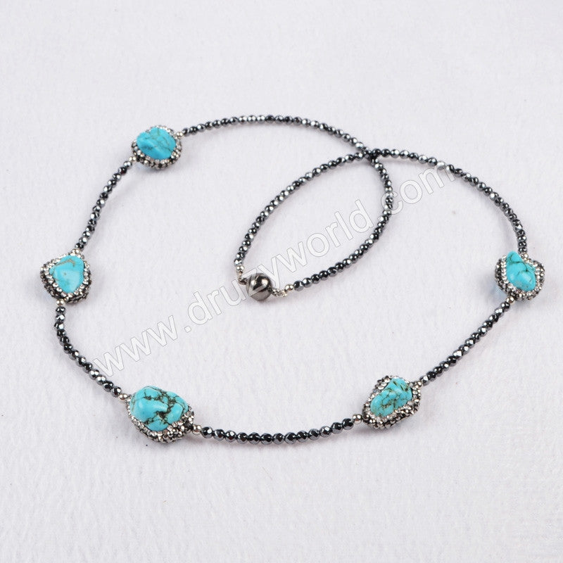 Five Natural Freeform Turquoise Beads Necklace Paved Zircon Black Chain With Magnet Clasp JAB201
