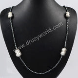 Four Peanut Shape Natural Pearl Beads Necklace Paved Zircon Black Chain With Magnet Clasp JAB202