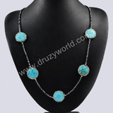 Five Natural Round Turquoise Beads Necklace Paved Zircon Black Chain With Magnet Clasp JAB205