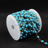 5m/lot,Gold Plated Or Silver Plated Round Blue Howlite Turquoise Beaded Chains  JT084