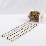 5m/lot,Brass Titanium Rainbow Color Glass Beads Chains  JT085