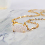 Hexagon  Natural Druzy Necklace Women Jewelry Gold Plated ZG0136-N