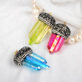Three Rainbow Aura Quartz Titanium Crystal Faceted Pendant Bead With Zircon JAB108