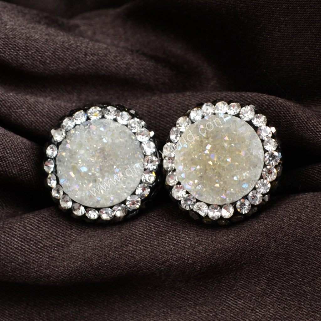 Round Natural Agate Titanium AB Druzy Stud Earrings Paved Zircon JAB206
