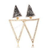 Fashion Style Long Triangle Gold Plated Copper Dangle Stud Earrings Paved Black & White Zircon JAB208