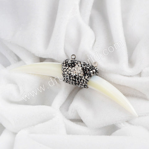 Fashion White Shell Horn Connector Double Bails Paved Zircon JAB212