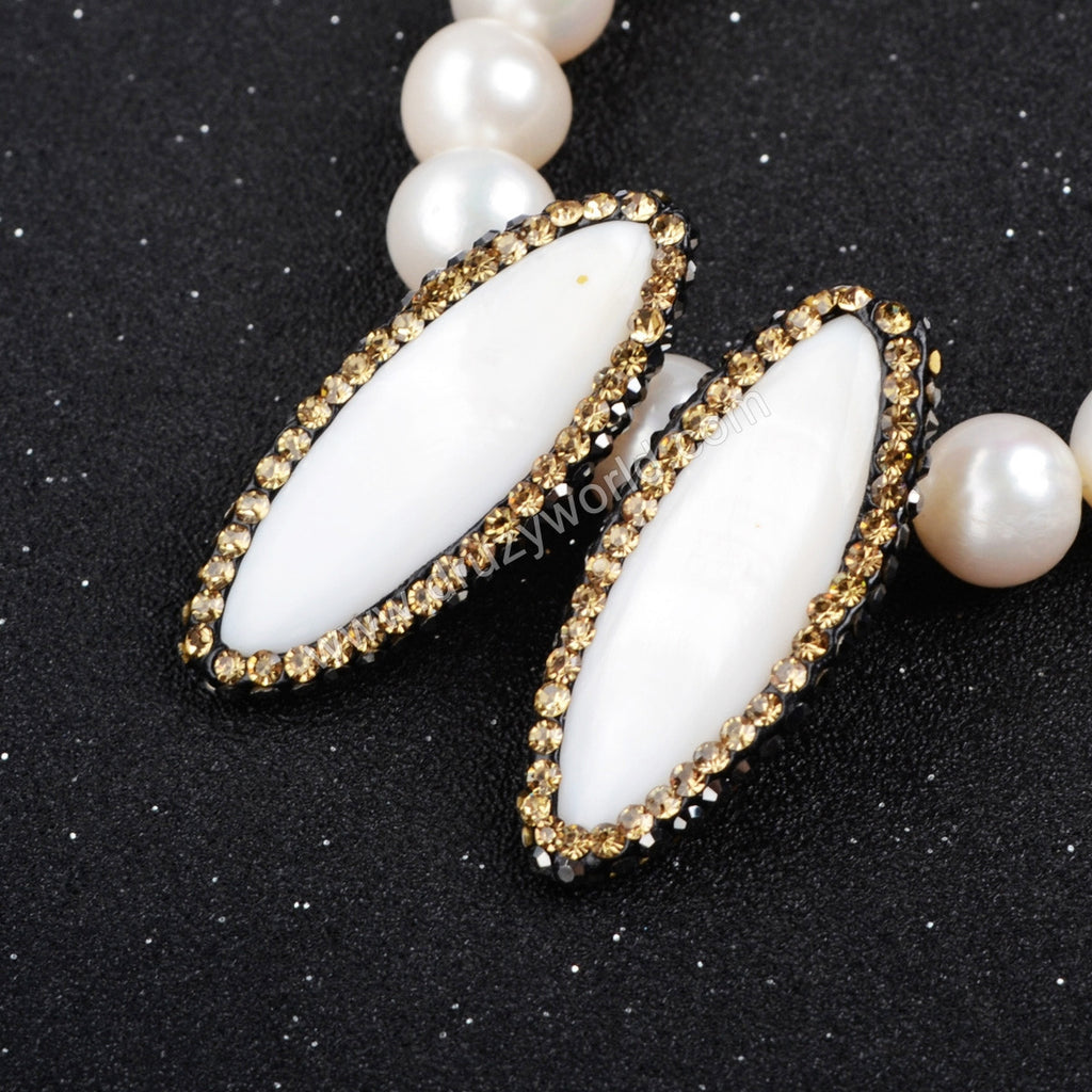 Oval White Shell Bead With Golden Zircon Edge (Side Hole) JAB074