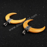 Yellow Natural Tribal Ox Bone Carved Double Horn Pendant Bead Paved Zircons JAB222