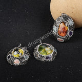 Oval Silver Plated Natural Phantom Quartz & Multi-Kind Stones Pendant Bead Paved Zircons JAB227