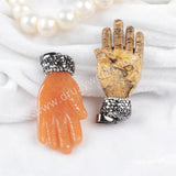 Red Aventurine Carved Buddha Hand Pendant Bead Paved Zircons JAB230