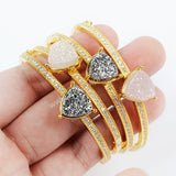 12mm Triangle Gold Plated Brass Colorful  Natural Agate Titanium Druzy Bangle With White Zircon ZG096