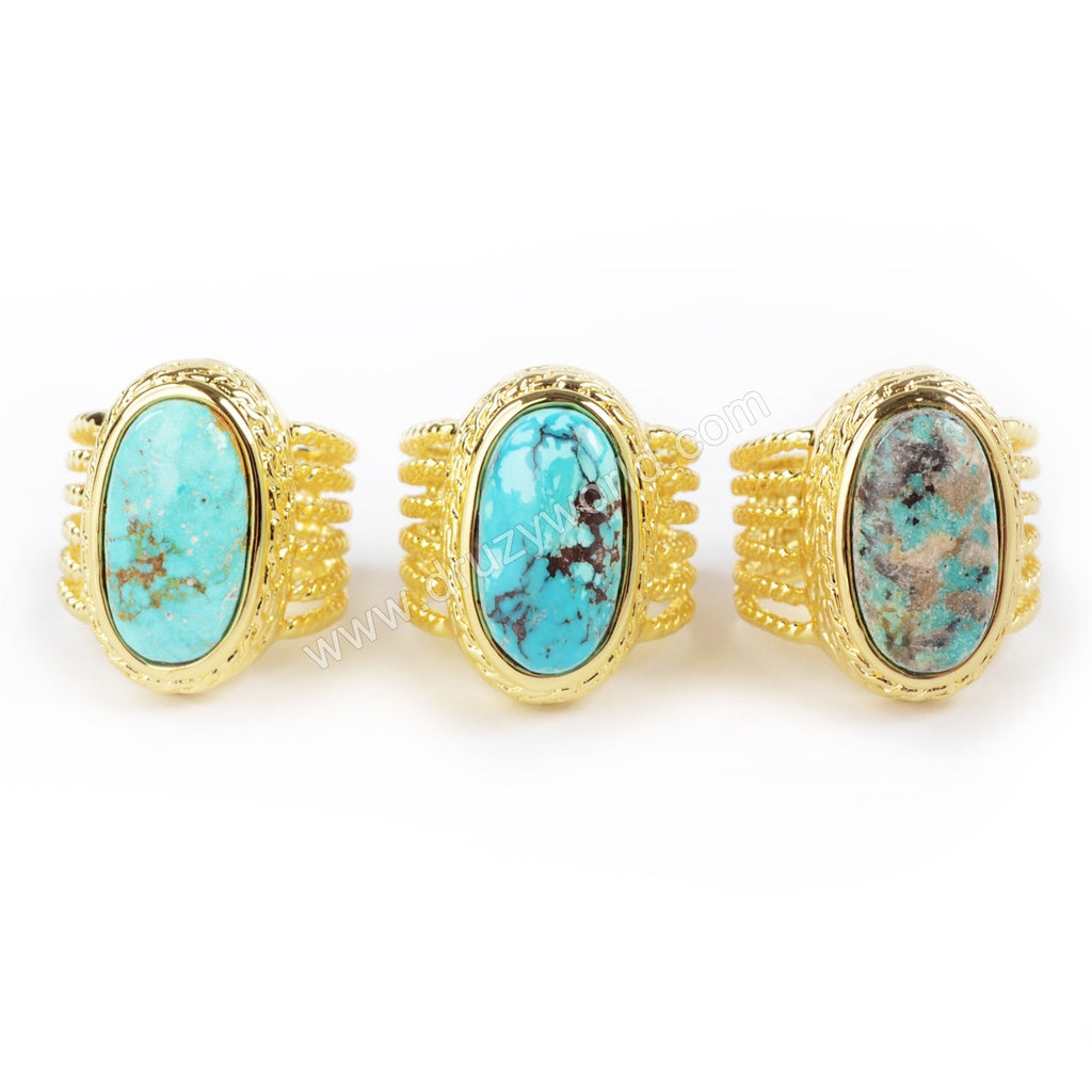 18K Gold Plated Natural Oval Turquoise Ring ZG064