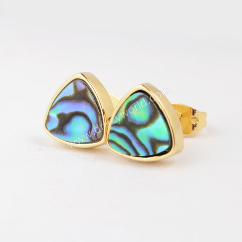 Gold Plated Triangle Natural Abalone Shell Stud Earrings ZG070