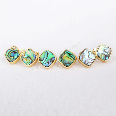 Gold Plated Diamond Shape Natural Abalone Shell Stud Earrings ZG071