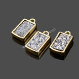 Natural Agate Titanium Bezel Colorful Druzy Connector Gold Plated ZG074
