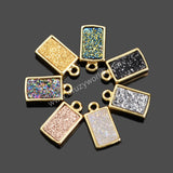 Gold Plated Bezel Colorful Rectangle Natural Agate Titanium Druzy Connector ZG074