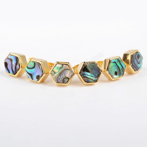 Gold Plated Hexagon Natural Abalone Shell Stud Earrings ZG076