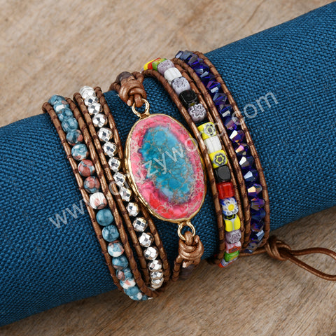 Sea Sediment Jasper Leather Wrap Bracelet HD0361
