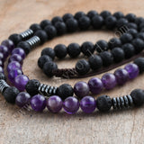 Amethyst Crystal Point Volcano Stone Rope Mala Bead Necklace HD0312