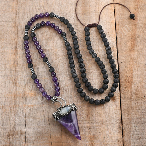 Amethyst Crystal Wholesale Volcano Stone Rope Mala Bead Necklace HD0313