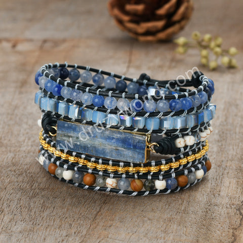 Gold Plated Natural Kyanite Leather Wrap Bracelet HD0363