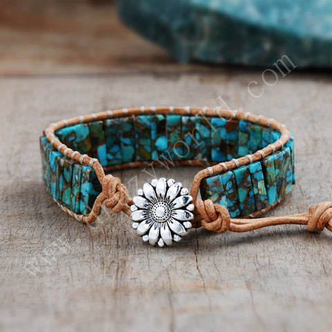 Cuboid Copper Turquoise Leather Bracelet HD0296