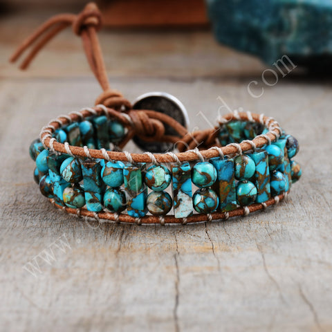 Turquoise Leather Bracelet Cube&Round Bead Bohemian HD0297