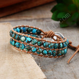 Turquoise Leather 6mm Round Bead Bracelet HD0298