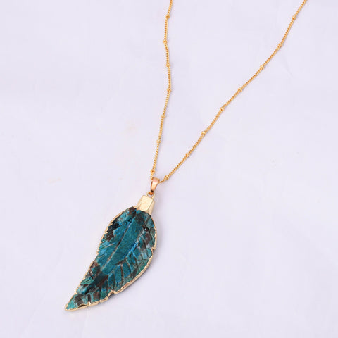 Gold Plated Ocean Jasper Feather Pendant Necklace WX1656
