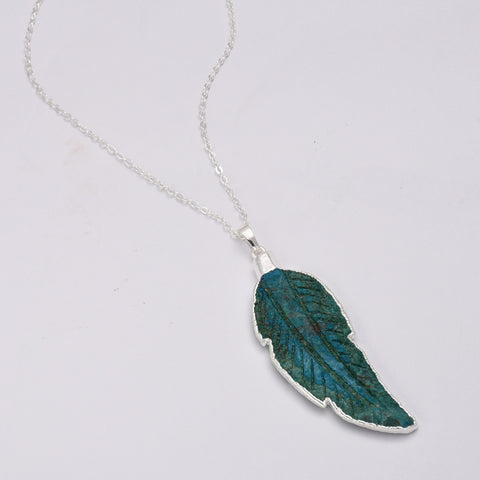 Silver Plated Ocean Jasper Feather Pendant Necklace WX1657