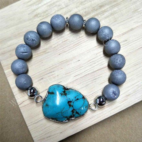 Silver Plated Blue Howlite Turquoise Druzy Bead Bracelet HD0245