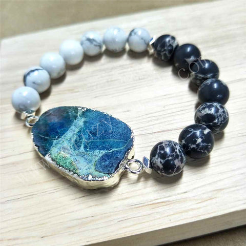 Silver Plated Natural Chrysocolla Stone Howlite Turquoise Beaded Bracelet