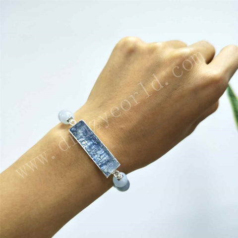 Rectangle Silver Plated Natural Kyanite Blue Agate Bead Bracelet