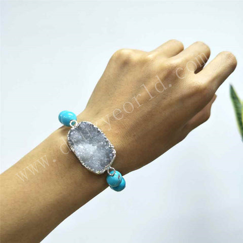 Silver Plated White Druzy Blue Turquoise Beaded Bracelet