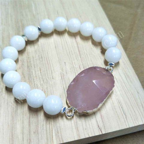 Silver Plated Natural Rose Quartz White Stone Bead Bracelet HD0252