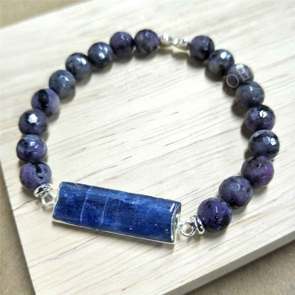 Rectangle Silver Plated Natural Kyanite Agate Bead Bracelet