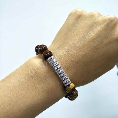 Silver Tiger Eye Stone 10mm Round Bead Micro Pave Bracelet HD0255
