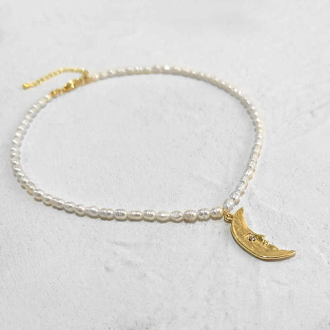 Natural Freshwater Pearl Moon Crescent Gold Necklace AL192
