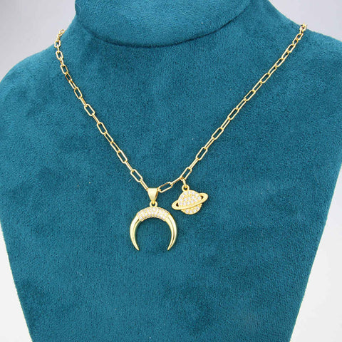 Gold Pave Diamond Moon Star Chain Necklace AL198