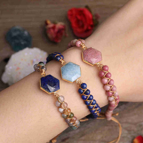 Hexagon Stone Handmade Boho Summer Adjustable Bracelet AL288
