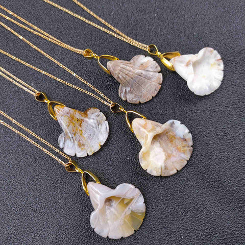 "Natural Mexican Agate Lily Pendant Gold 18"" Necklace AL184"