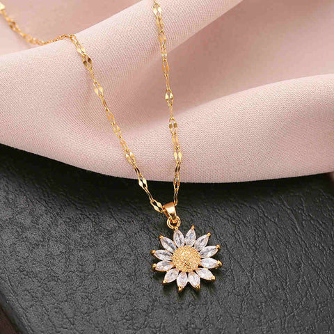 Golden Sunflower Titanium Steel Necklace AL304
