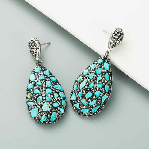 Drop Natural Stone Rhinestone Earrings AL262