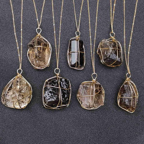 Natural Raw Smoky Quartz Wire Wrap Gold Pendant Necklace
