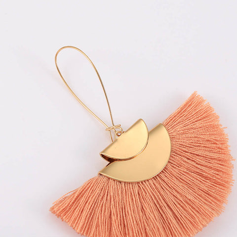 Boho Tassel Earring Gold Long Summer Beach Circular Sector Earrings AL239