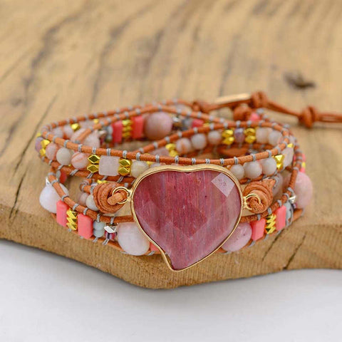 Rhodochrosite Handwoven Bohemian Heart Love Leather Wrap Bracelet AL272