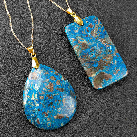 Natural Stone Sky Blue Agate Pendant Gold Necklace AL185